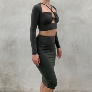 Dark Green Top and Skirt Set